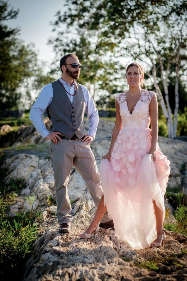 """""""Emily and Tyler got married in Cape Elizabeth, Maine this past Saturday. What a beautiful wedding and unique, pink wedding"""