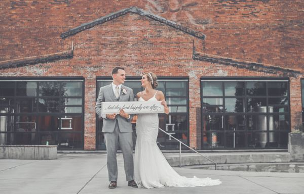 """""""Catherine and Gary Thornberry got married August 20 at Copper And Kings American Brandy Company in Louisville, Kentucky."""" --"""