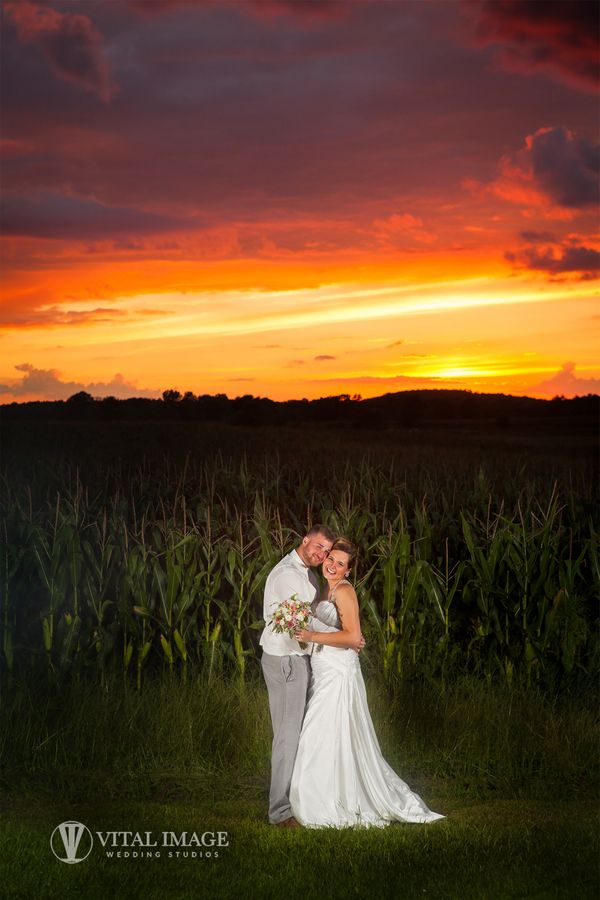 """""""Brittney and Jason celebrated their marriage in Cottage Grove, Wisconsin on August 13. Their reception was held at Achterber"""