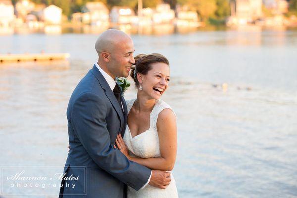 """""""Rachel Bond and LJ Hunter were married at Lake Pearl Wrentham in Wrentham, Massachusetts on August 19."""" --<i>Jen Osojn"""