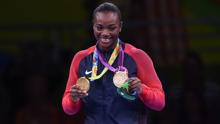 Gold medallist Claressa Shields of USA celebrates her win during the Women's Boxing Middleweight medal presentation.