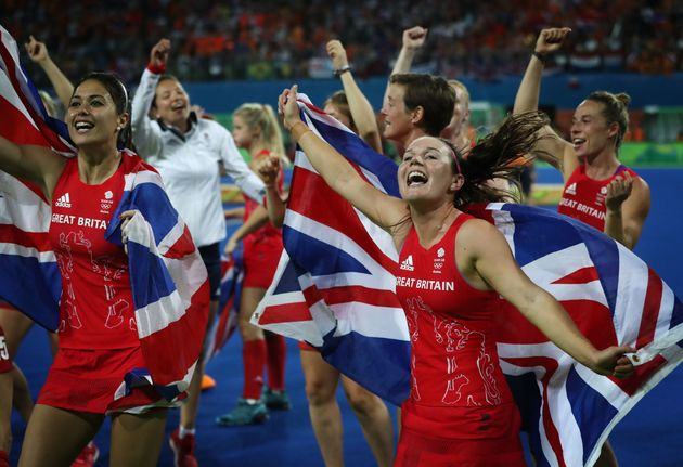 Team GB celebrates after winning a penalty shoot out during the Women's Hockey final. Women won 39%...