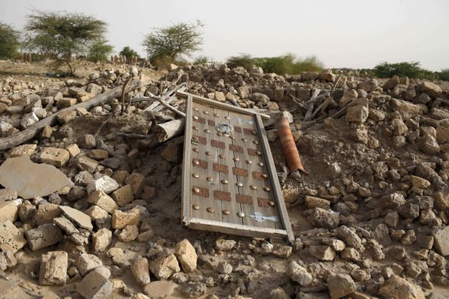 The rubble left from an ancient mausoleum destroyed by Islamist militants, is seen in Timbuktu, Mali,...