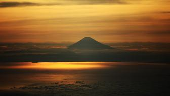 Aerial view of Mount Fuji at sunset