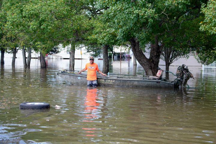 A Cajun Navy volunteer and his boat.