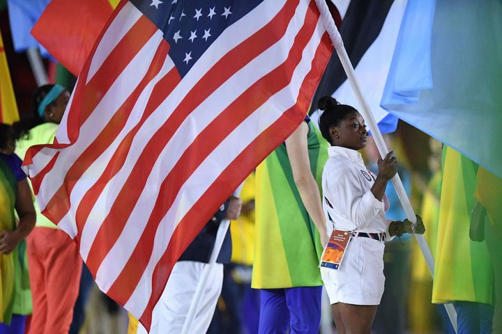 Simone Biles was given the honor of carrying the U.S. flag during the Closing Ceremony.
