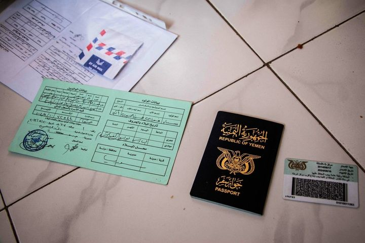 Nizar Foazias identification documents and Yemeni passport. He says many Yemenis and Somali-Yemenis have fled to Somaliland w