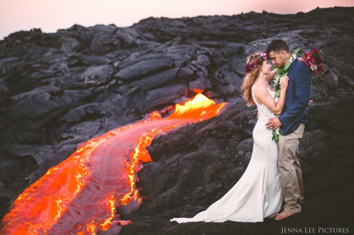 Photographer Jenna Lee recruited newlyweds Lauren and Alex for the photoshoot at Kilauea volcano.