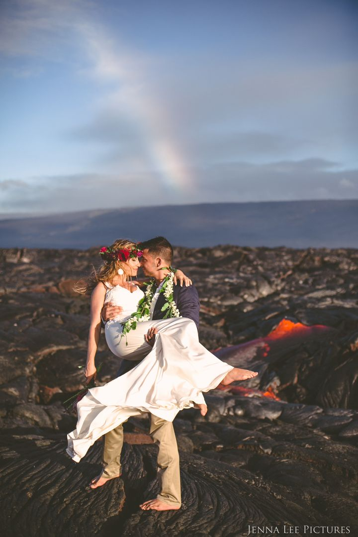 Lee captured gorgeous photos of the couple near a lava breakout, as well as on the coastline, where the lava was flowing into the sea, creating new land.