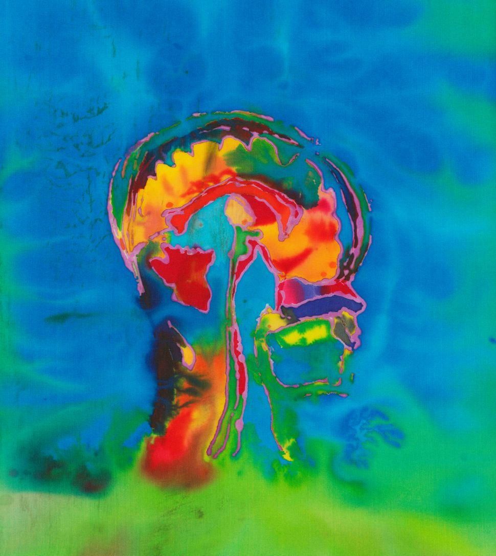"""Self Portrait of the Artist's Brain 1,"" a sagittal MRI view of the artist's brain."