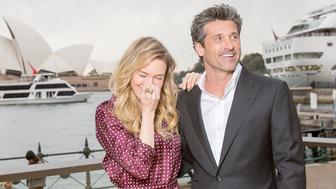 SYDNEY, AUSTRALIA - AUGUST 22:  Renee Zellweger and franchise newcomer Patrick Dempsey pose for a photograph during a media opportunity for Bridget Jones's baby at the Park Hyatt Sydney on August 22, 2016 in Sydney, Australia.  (Photo by Cole Bennetts/Getty Images)