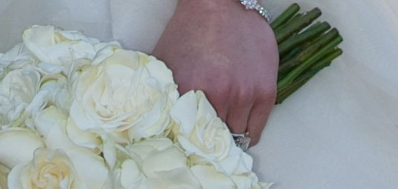 A peek at Clinton's engagement ring on her wedding day.