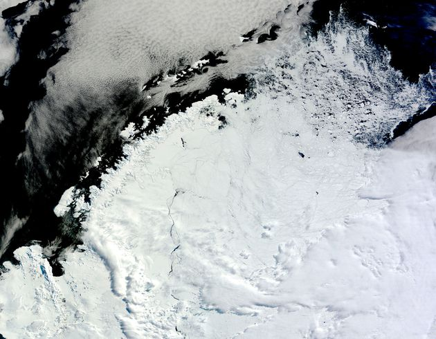 Ice lingering north of the Weddell Sea, east of the Antarctic Peninsula. The coastline of the Antarctic...