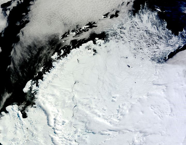 Ice lingering north of the Weddell Sea, east of the Antarctic Peninsula. The coastline of the Antarctic Peninsula appears as