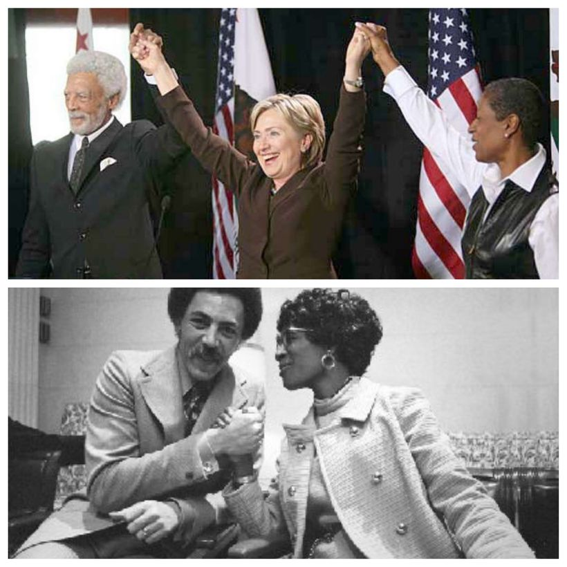 (Top) Fmr. Congressman Ron Dellums and wife Cynthia with Hillary Clinton.<br>(Bottom) Dellums with history making Congresswom
