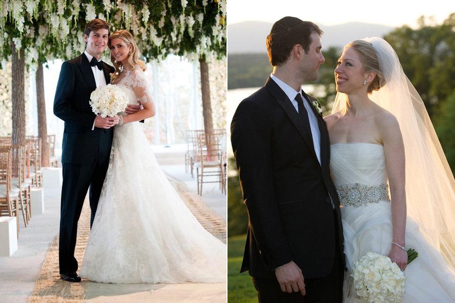 On The Left, Bride Ivanka Trump And Her Groomu0026nbsp;Jared Kushner. On The