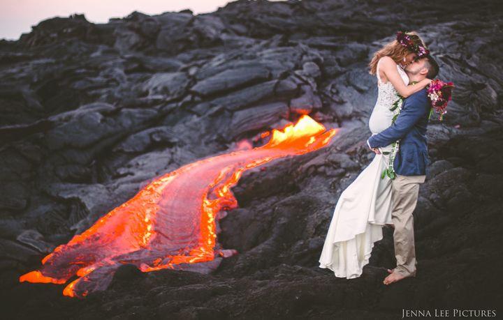 Adventurous Couple Takes Wedding Pics On Volcano With Molten Lava