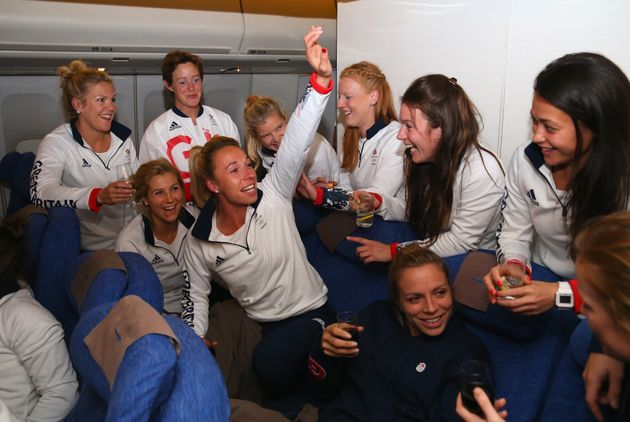 Members of the Great Britain Women's Hockey team during the Team GB flght back from