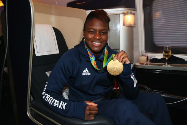 Nicola Adams of Great Britain poses with her gold medal during the Team GB