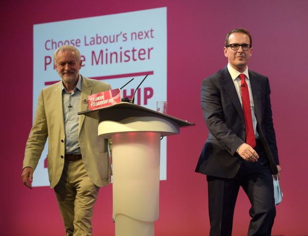 Jeremy Corbyn and Owen Smith walk off the stage after the first Labour Leadership debate at the All Nations...