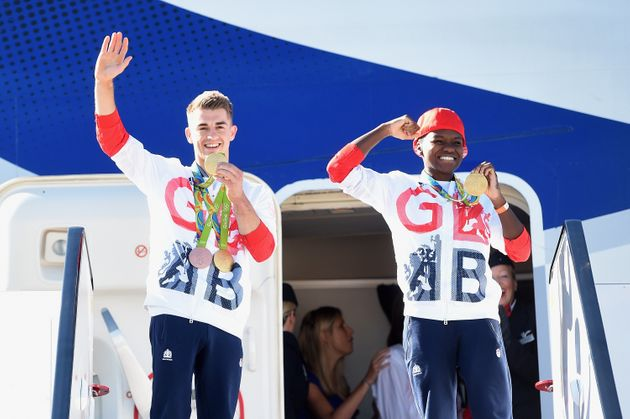 Team GB Gymnast and gold medallist Max Whitlock(L) with fellow gold medallist and boxer Nicola...
