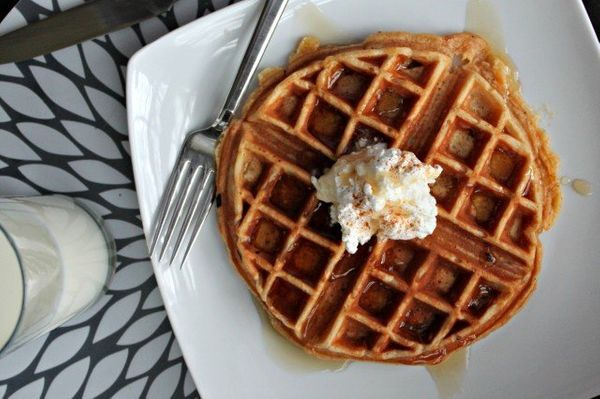 "<strong>Get the <a href=""http://www.lifeandkitchen.com/eggnog-waffles/"">Eggnog Waffles recipe </a>from Life and Kitchen</stro"