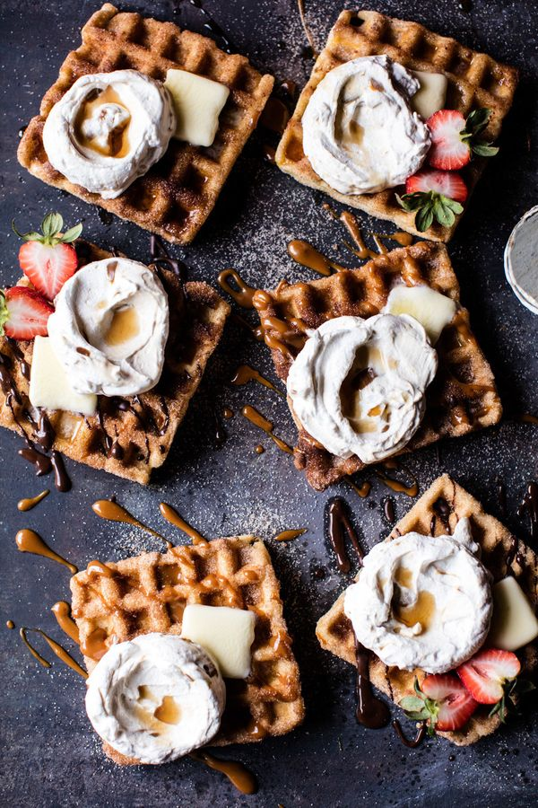 "<strong>Get the <a href=""http://www.halfbakedharvest.com/churro-waffles/"" target=""_blank"">Churro Waffles recipe</a> from"