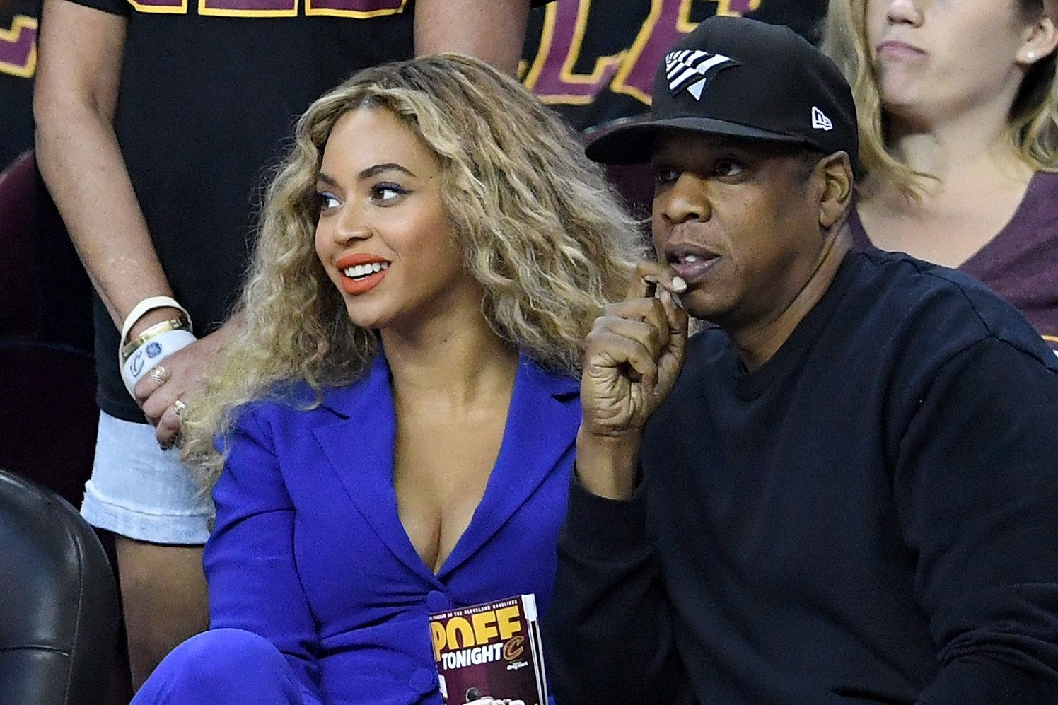 CLEVELAND, OH - JUNE 16:  Beyonce and Jay-Z sit courtside for Game 6 of the 2016 NBA Finals at Quicken Loans Arena on June 16, 2016 in Cleveland, Ohio. NOTE TO USER: User expressly acknowledges and agrees that, by downloading and or using this photograph, User is consenting to the terms and conditions of the Getty Images License Agreement.  (Photo by Jason Miller/Getty Images)