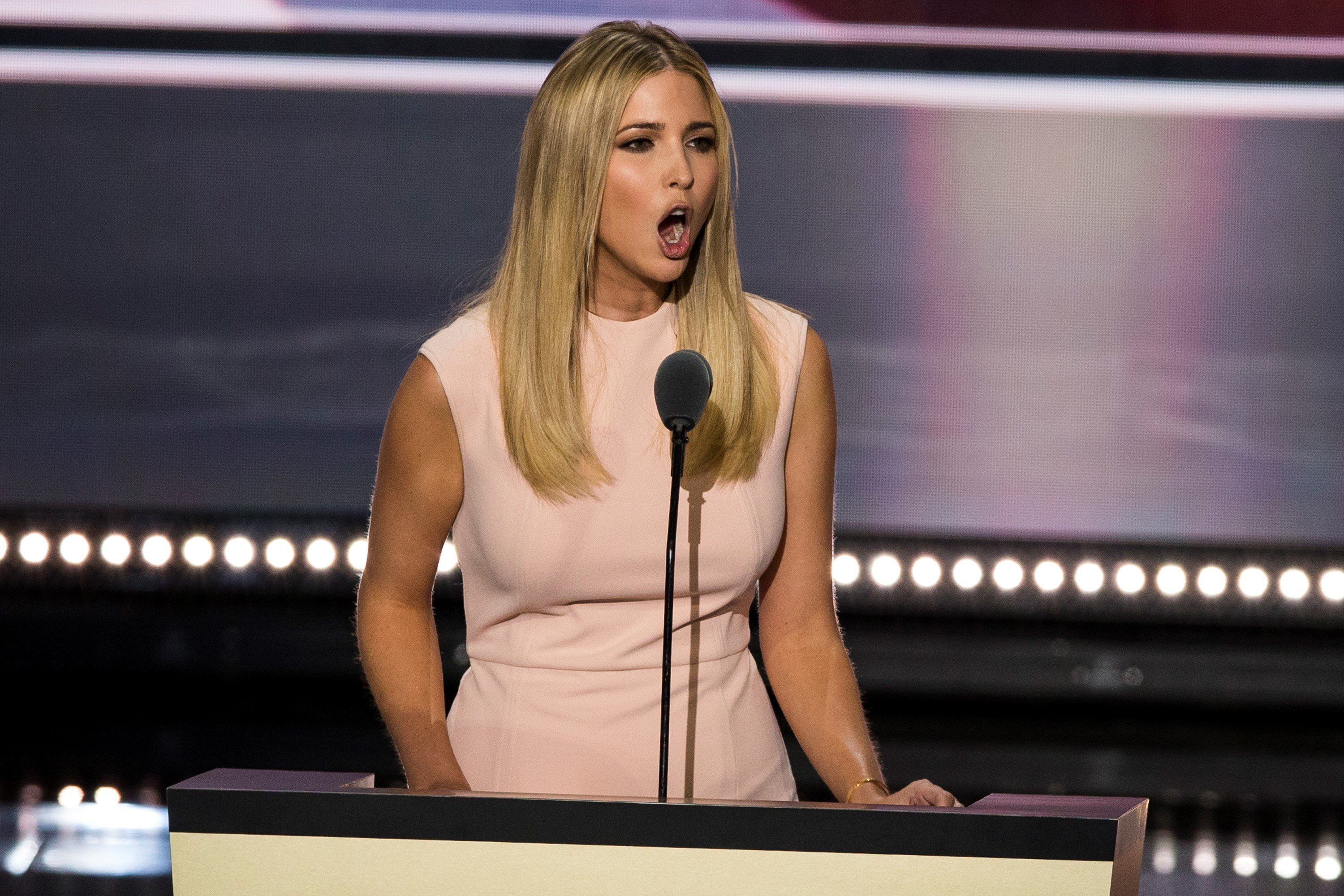 CLEVELAND, USA - JULY 21: Ivanka Trump, daughter of Donald Trump, speaks about how her father is the best choice for President during the 2016 Republican National Convention in Cleveland, Ohio, USA on July 21, 2016. (Photo by Samuel Corum/Anadolu Agency/Getty Images)