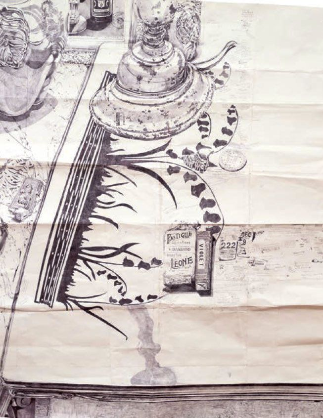 """<strong>Dawn Clements</strong>, """"2 Tables in my Kitchen,"""" 2014, ballpoint pen on paper"""