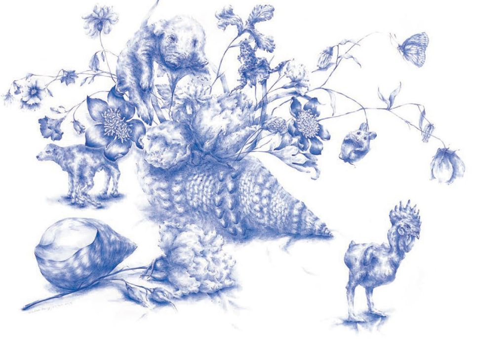 """<strong>Joo Lee Kang</strong>, """"Still Life with Shells #1,"""" 2014, ballpoint pen on paper"""