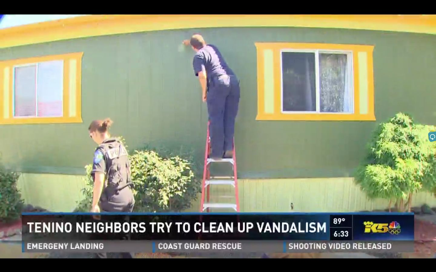 Volunteers, including a local police officer and firefighter, were seen joining in the cleaning