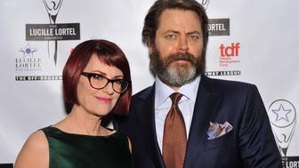 NEW YORK, NY - MAY 04:  Actors Megan Mullally and Nick Offerman attend the 29th Annual Lucille Lortel Awards at NYU Skirball Center on May 4, 2014 in New York City.  (Photo by D Dipasupil/Getty Images for The Lucille Lortel Awards)