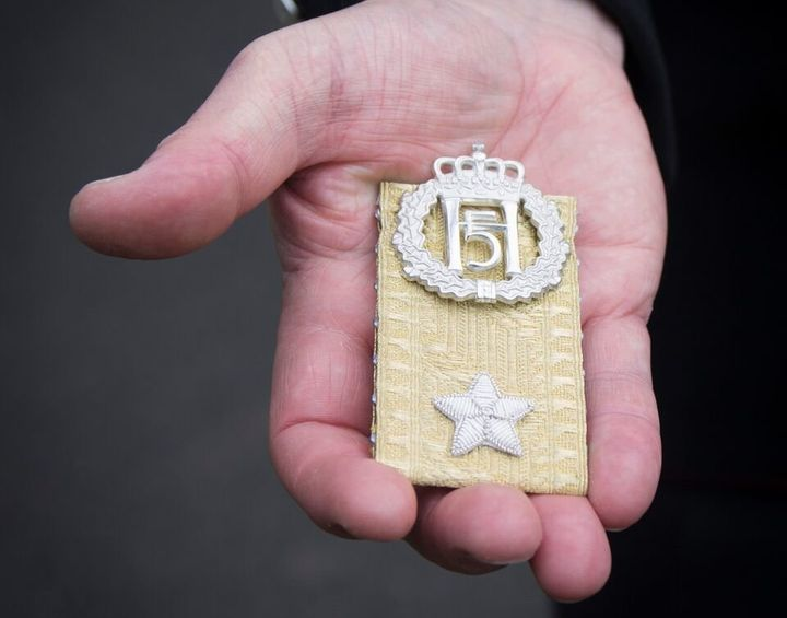 Brig. Sir Nils Olav's new rank insignia is seen during Monday's ceremony.