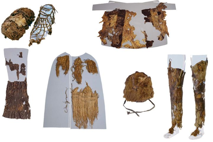 Clothes worn by Otzi the Iceman 5,300 years ago include (clockwise from top left): hay-stuffed shoes, goat- and sheepskin coa