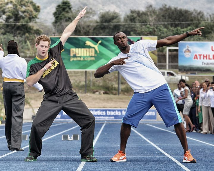 Prince Harry and Usain Bolt during the royal's 2012 visit to Jamaica.