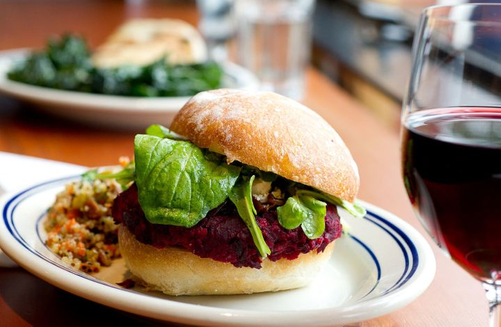 A beet burger served at one of The Kitchen's Next Door locations.