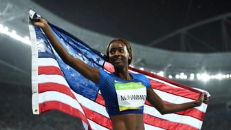 2016 Rio Olympics - Athletics - Final - Women's 400m Hurdles Final - Olympic Stadium - Rio de Janeiro, Brazil - 18/08/2016.  Dalilah Muhammad (USA) of USA celebrates winning gold  REUTERS/Dylan Martinez  FOR EDITORIAL USE ONLY. NOT FOR SALE FOR MARKETING OR ADVERTISING CAMPAIGNS.