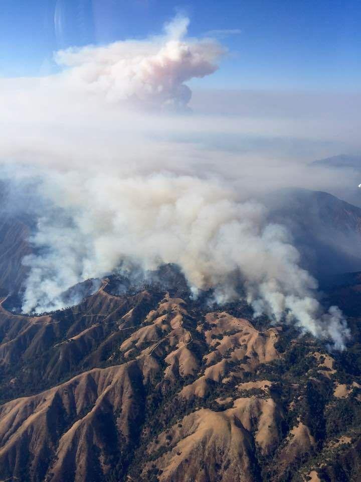 Cedar Fire as seen from the air attack plane