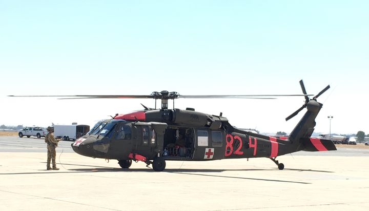 UH-60 Blackhawk MEDEVAC helicopter, painted for Cal Fire missions, on the ground in Paso Robles.