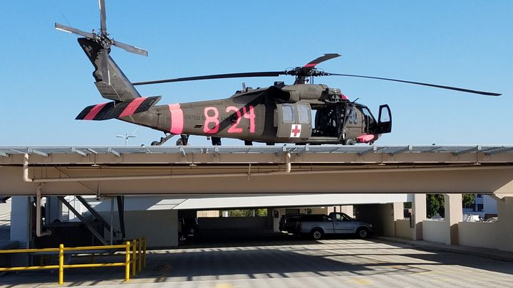 UH-60 MEDEVAC Blackhawk sitting on the Sierra Regional Medical Center helipad