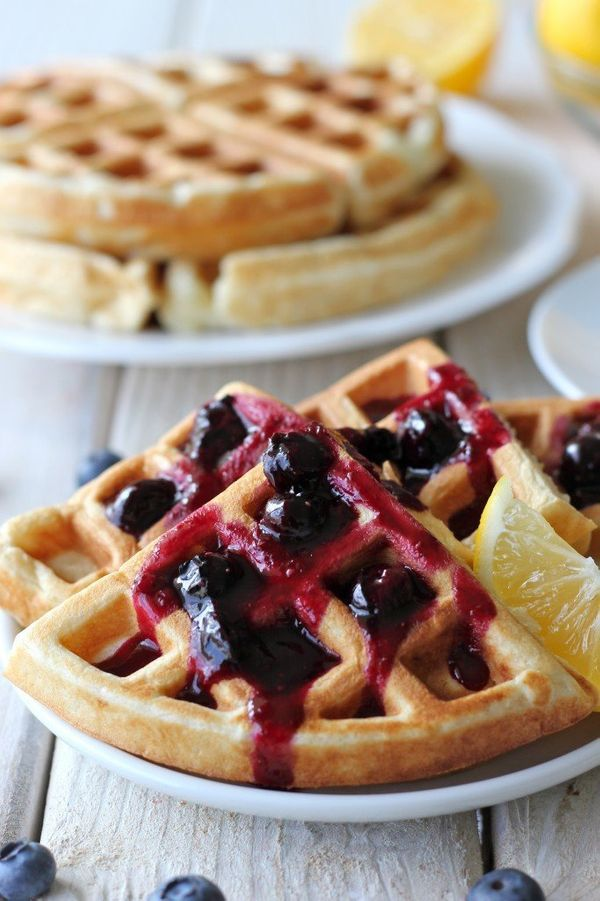 "<strong>Get the<a href=""http://damndelicious.net/2013/02/06/lemon-belgian-waffles-with-blueberry-syrup/"" target=""_blank"">&nbs"