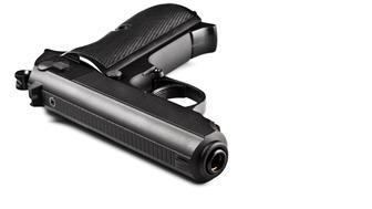black laying police pistol