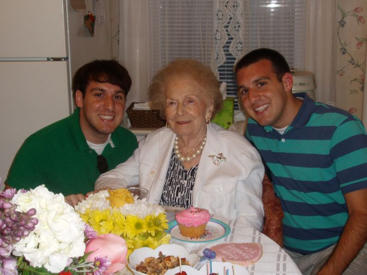 Rob Sampogna, his Grandma Jean, and his twin brother Nick in August 2009 at Grandma Jean's 99th birthday party at her house i