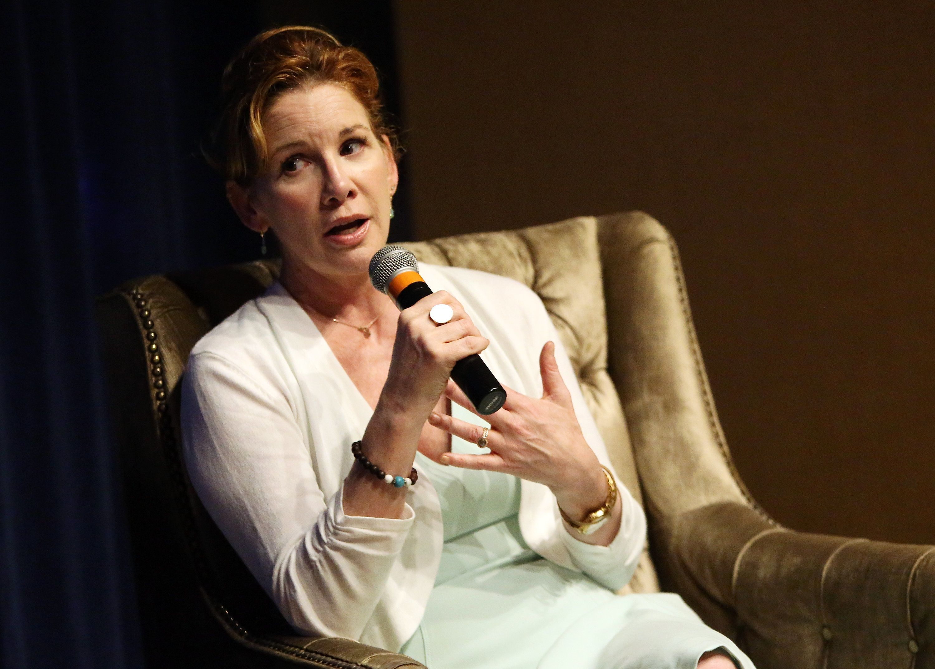 NEW YORK, NY - APRIL 22:  Actress, director, and 2016 Democratic candidate for Michigan's 8th congressional district Melissa Gilbert speaks at the Women In Business Breakfast With Melissa Gilbert at The Core Club on April 22, 2016 in New York City.  (Photo by Monica Schipper/Getty Images)