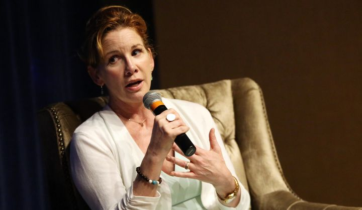 Melissa Gilbert, who withdrew from a U.S. congressional race earlier this year, speaks on April 22 in New York City. An elect