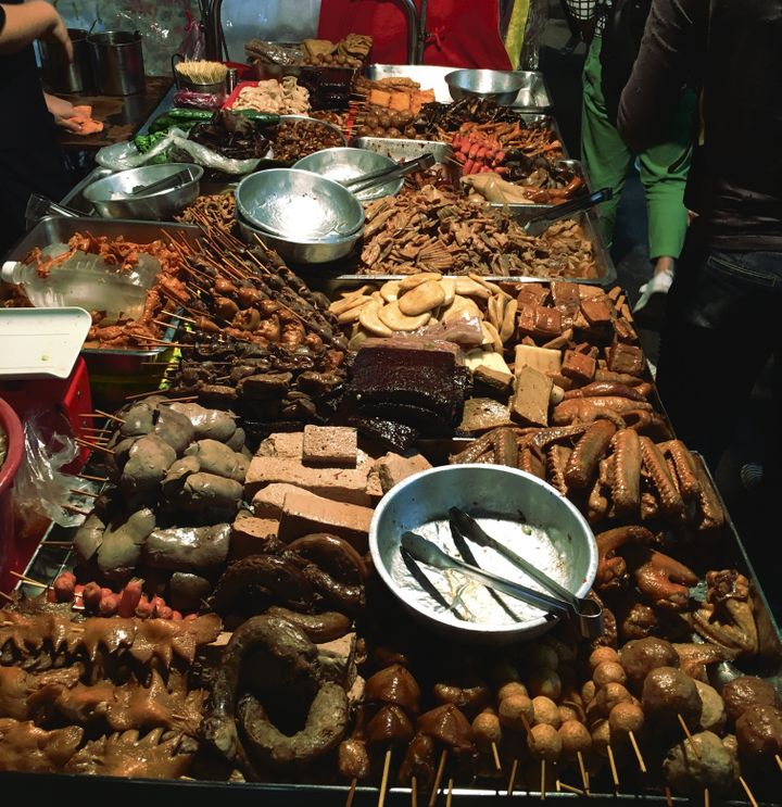 A plethora of meats at the night market. I didn't have it in me to try any of this.