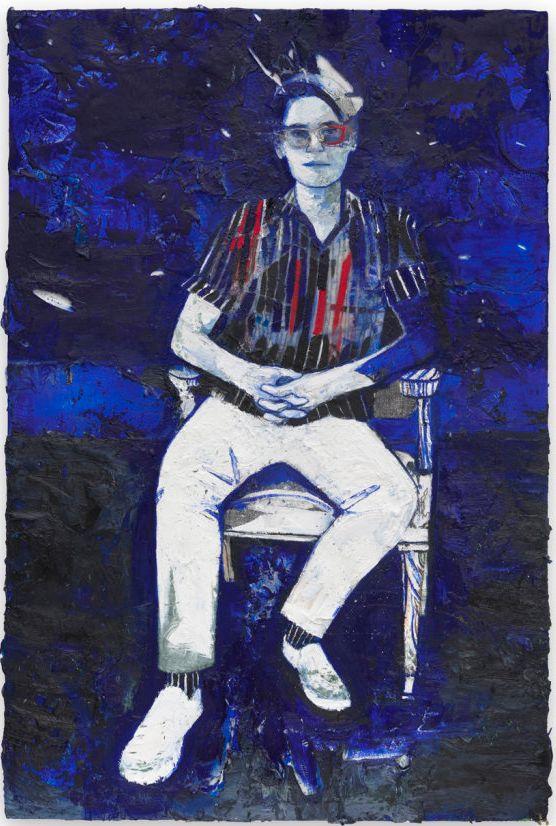 "<i>Patrick,</i> 2016, Oil, graphite, wax on canvas, 36"" H x 24"""