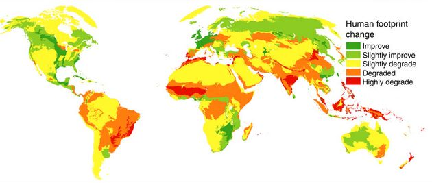 This map shows how the human footprint changed -- positively and negatively -- between 1993 to