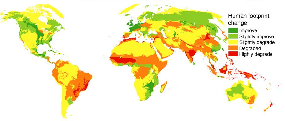 This map shows how the human footprint changed -- positively and negatively -- between 1993 to 2009.